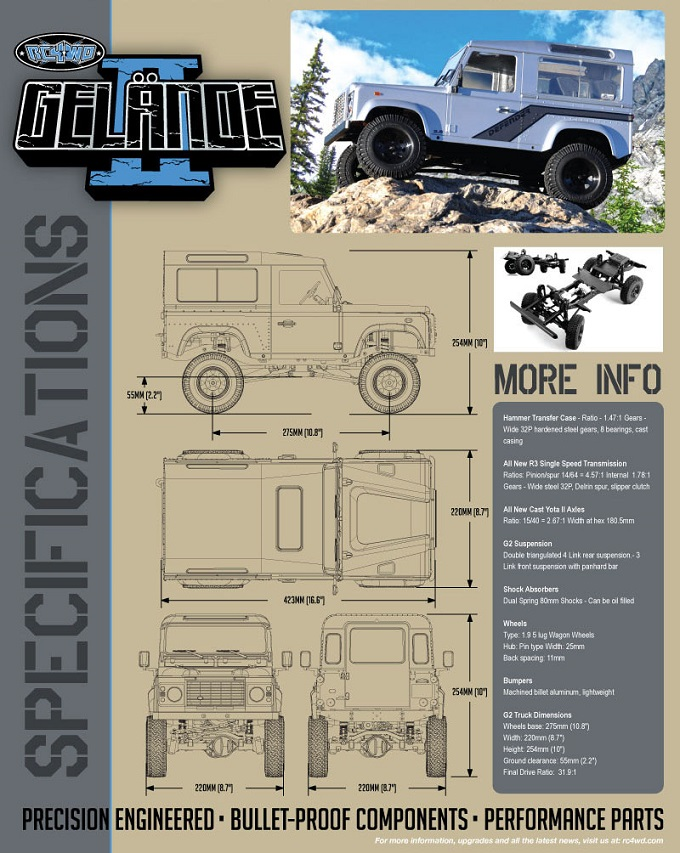 Gelande II 0001 Truck Kit w/Defender D90 Body Set - SAMIRC