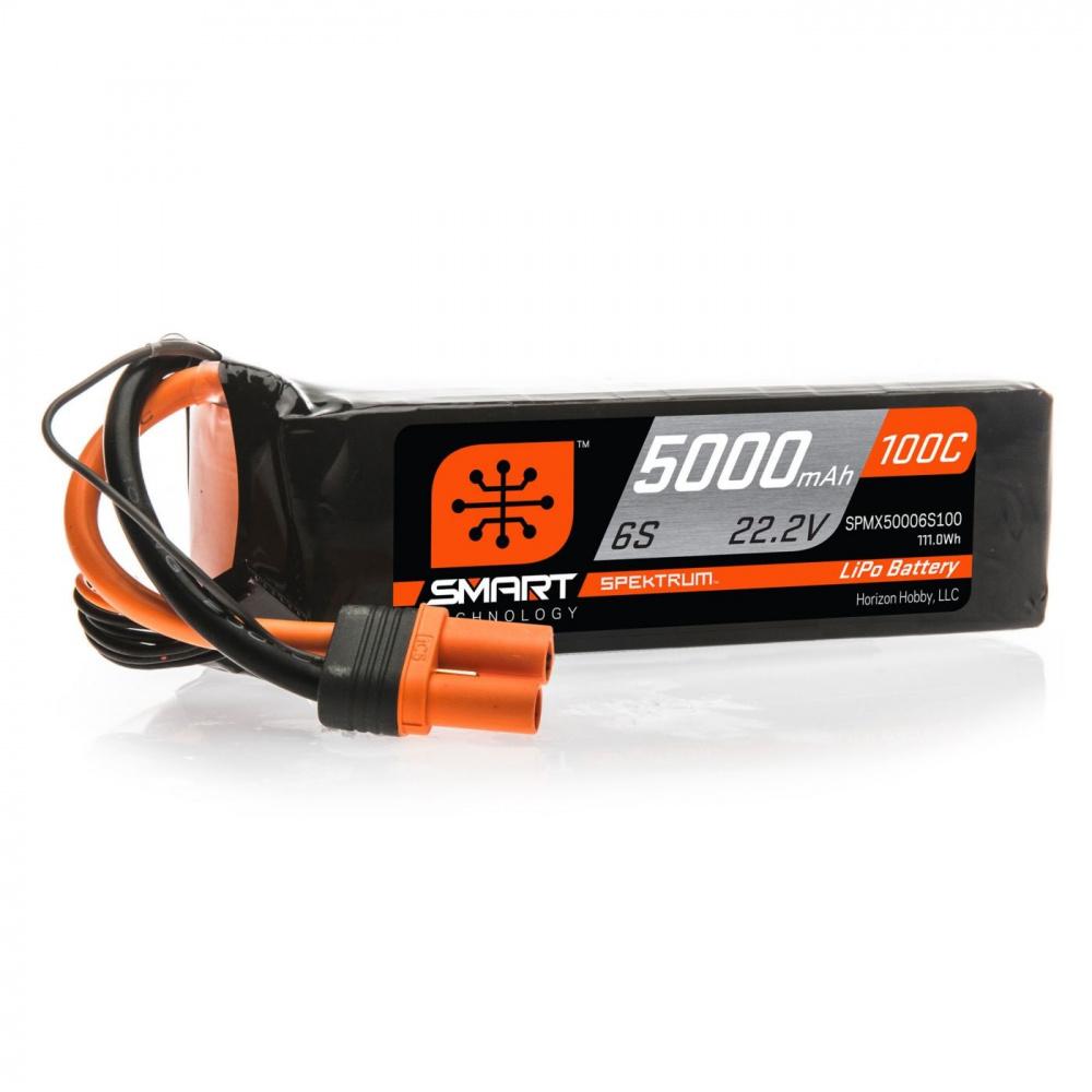 Spektrum 22.2V 5000mAh 6S 100C Smart LiPo Battery, IC5 SAMIRC